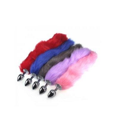 Colourful Fox Tail Metal Medium Anal Plug