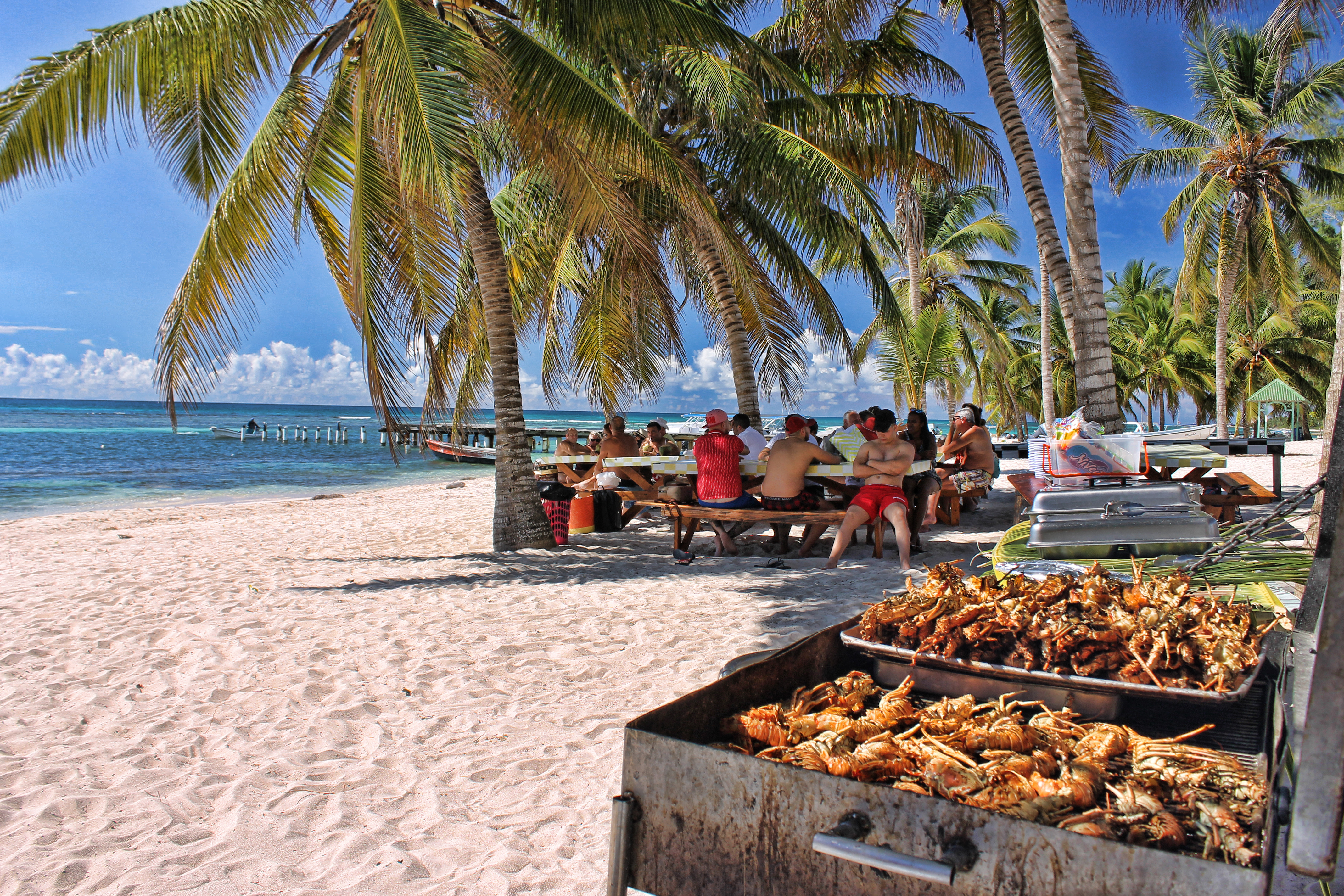 Lunch with lobsters in saona Manojua