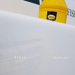 Light machine polish on a Merry Fisher 580_www.boatvaletingcornwall.co