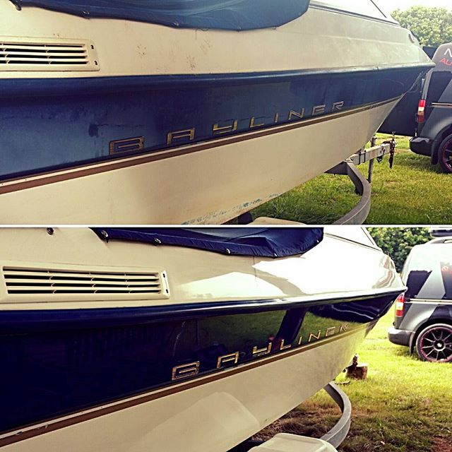 A lovely before and after shot _#bayliner #mobilevaleting #boatvaleting #yacht #sailing #boat #power