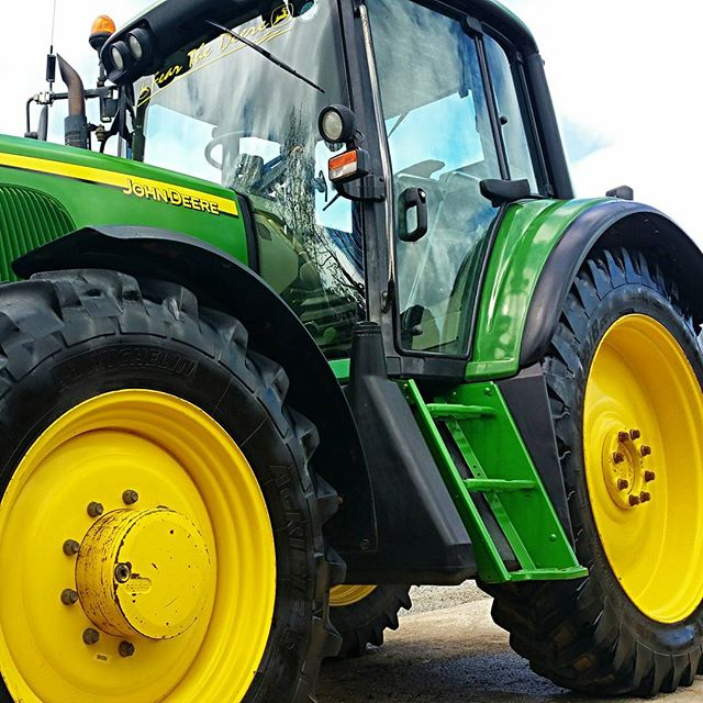 All ready to take the bride to church on Saturday #johndeere #tractor #farmer #wedding #cornwall #st