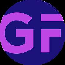 GF initials circle bright & dark purple.