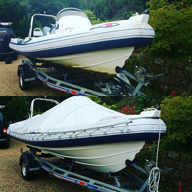 Before cleaning and after _This rib has not had anti foul applied _#mobilevaleting #boatvaleting #bo