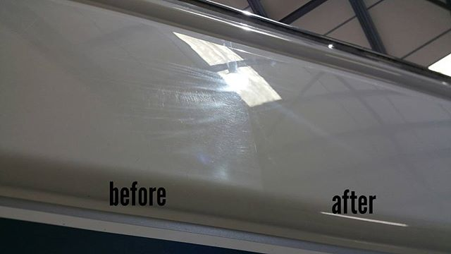 After day 1. This yacht was recently been purchased and the owner wanted the hull polished while it