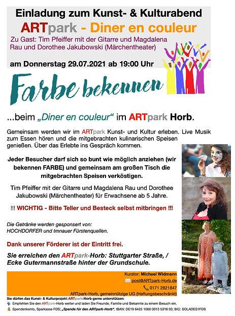 Einladung 29-07-2021 ARTpark Diner en co
