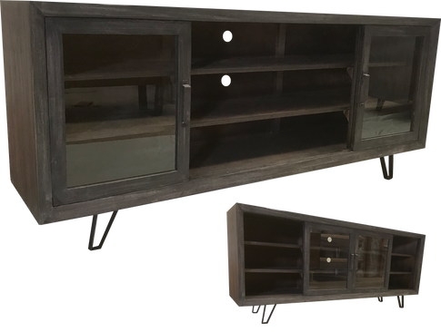 Loft TV Console w/ Slide Crystal Doors