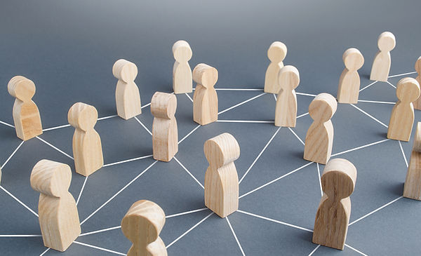 People connected people by lines. Societ