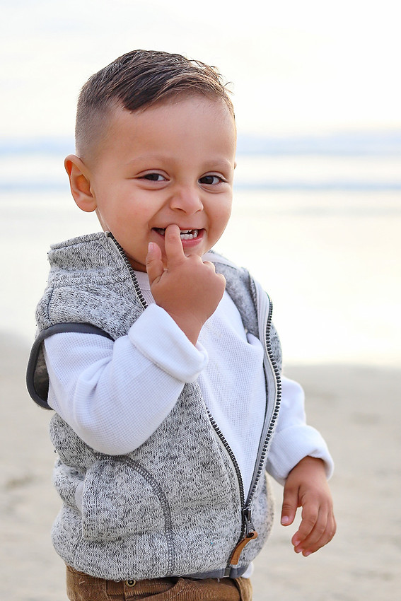 cute baby boy at the beach in San Diego