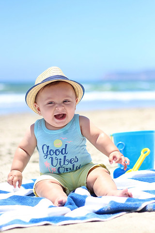 6 month old baby at the beach in Coronado in San Diego
