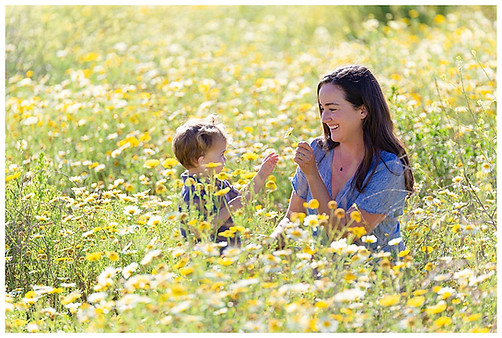 San Diego family photo in the spring wildflowers