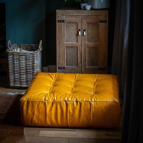 'Beeba' Leather Floor Cushion Pouffe