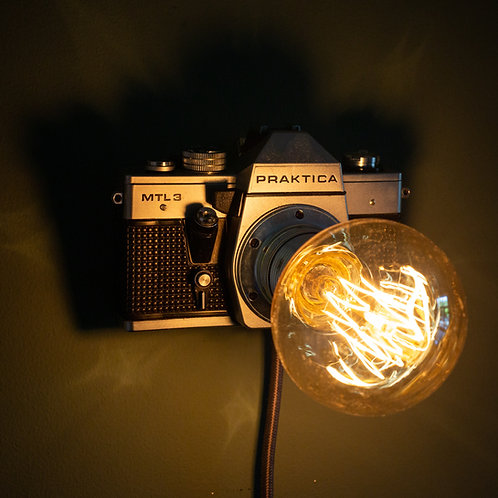 vintage, camera, lamp, light, retro, antique, Praktica, wall, mount, desk, table top, unique, upcycled, vintage, handmade,