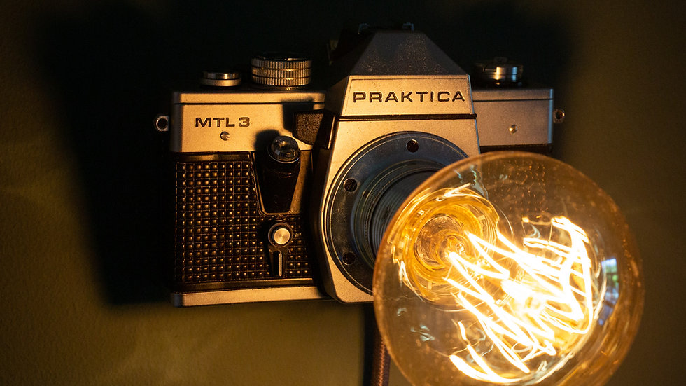vintage, camera, lamp, light, retro, antique, Praktica, wall, mount, desk, table top, unique, upcycled, vintage, handmade,