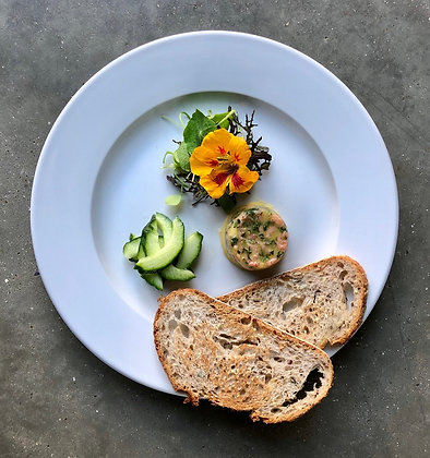 Classic potted shrimp with Pennybun bread and pickles