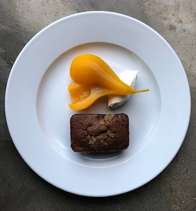 Warm ginger bread with saffron & poached pear