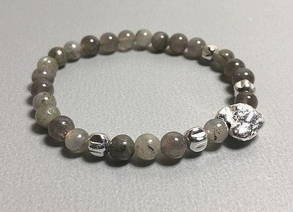 Armband Labradorit mit Nugget Silber / vergoldet