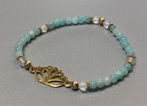 Armband mit Amazonit und Lotus aus 925er Silber vergoldet