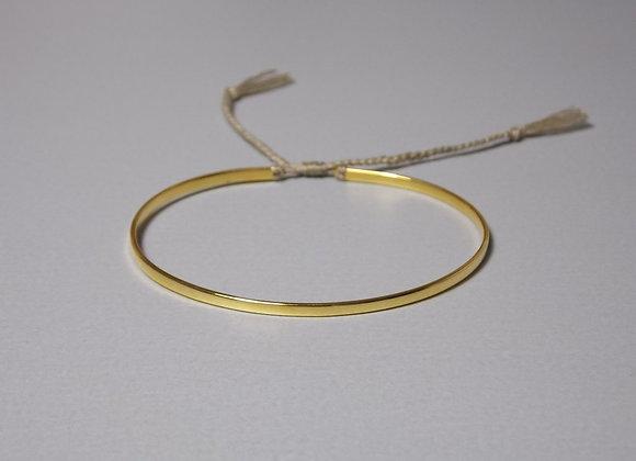 Silberarmreif vergoldet, Band in oliv