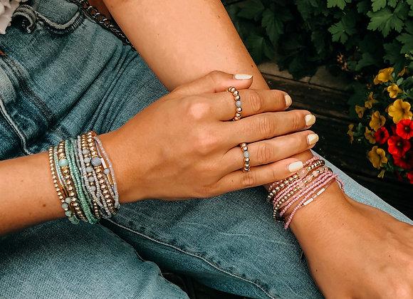 Hematite-Armband vergoldet mit Edelsteinen
