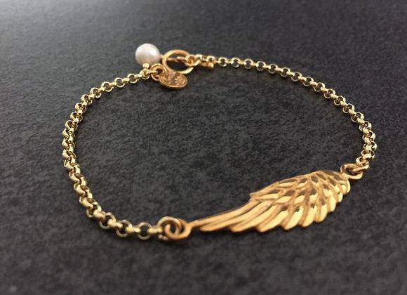 Silberarmband mit Flügel und Süßwasserperle