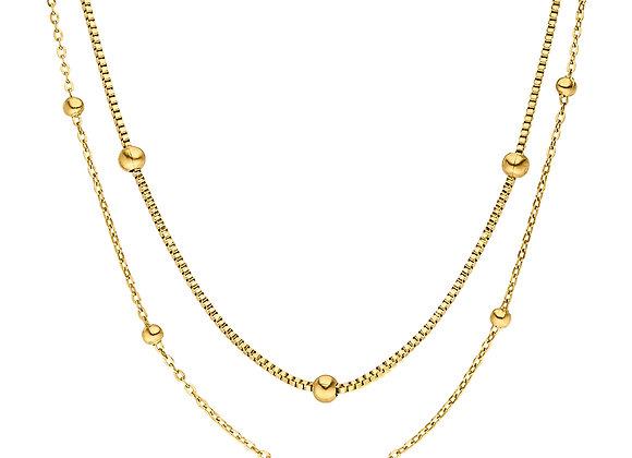 iCrush Kette Together, Edelstahl 18 K Gelbgold vergoldet