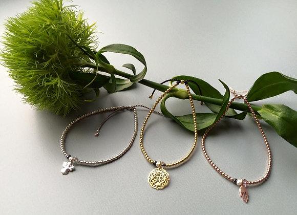 Silberperlen-Armband rose vergoldet Hand