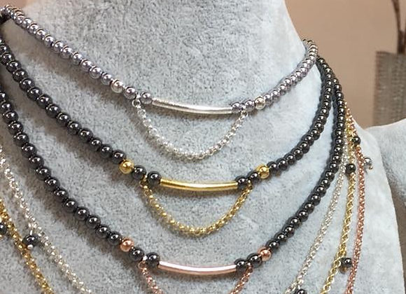 Hämatitkette silberfarben mit Silberelementen