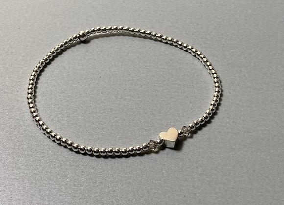 Silberperlen-Armband mit Herz