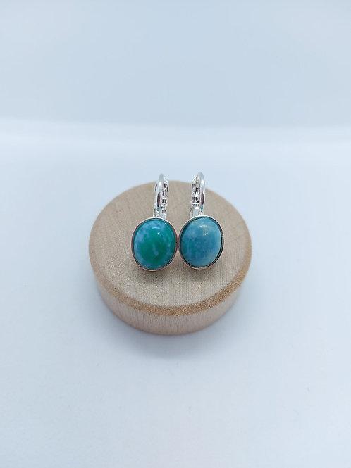 Boucles d'oreilles avec cabochons en pierres semi précieuses (Modèle oval)