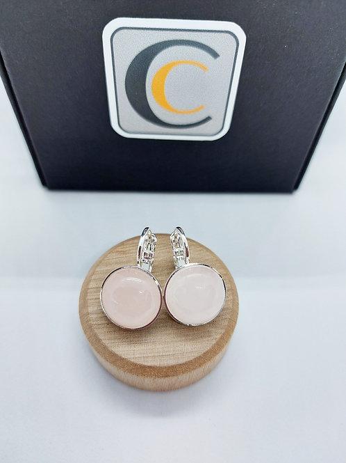 Boucles d'oreilles   avec cabochons en pierres semi précieuses