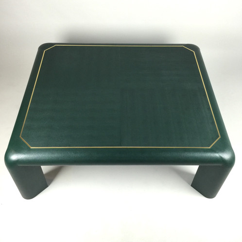 Karl Springer Modern Green Leather Coffee Table Signed Brass Trim ...