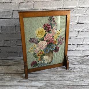 Vintage Floral Tapestry Wooden Fireguard