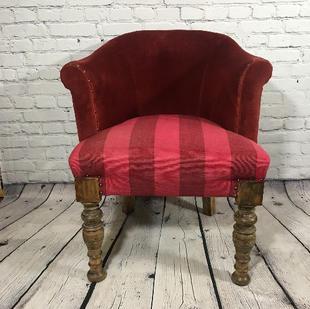 Red Velvet Tub Chair