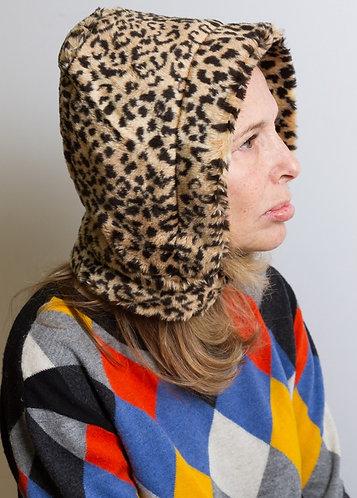 Hoodie hat Leopard faux fur . soft hoodded hat