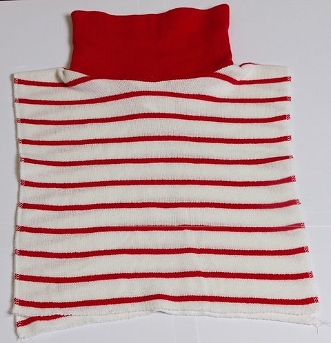 Stocking stuffer RED. Striped 100% Arylic Sweater Knit Reversible Dicky.