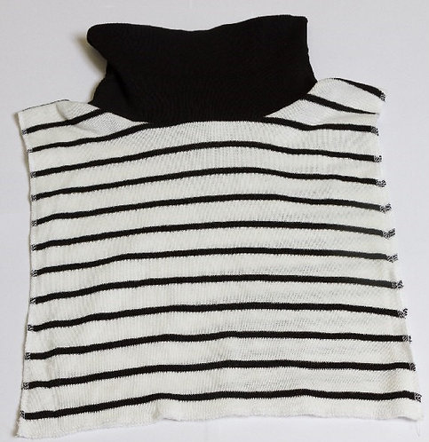 Stocking stuffer BLACK/WHITE. Striped 100% Arylic Sweater Knit Reversible Dicky.