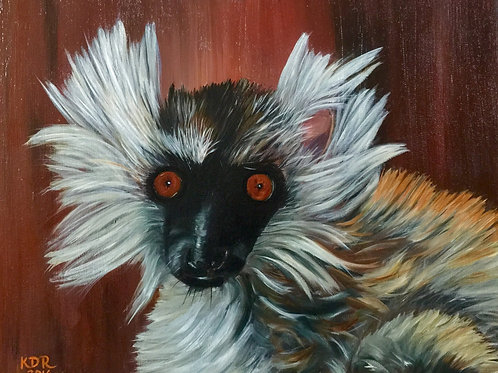 Brown Lemur Oil Painting