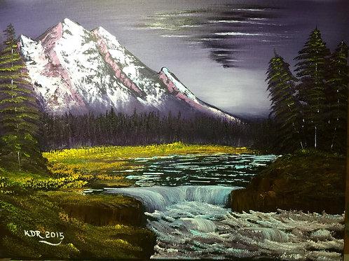 Purple Mountain Oil Painting