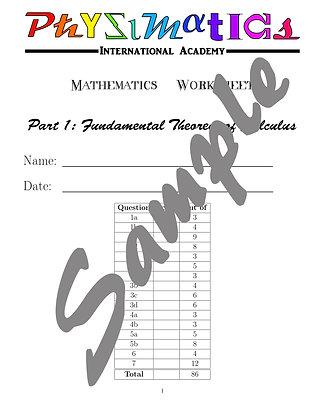 Fundamental Theorem of Calculus Part 1 Worksheet