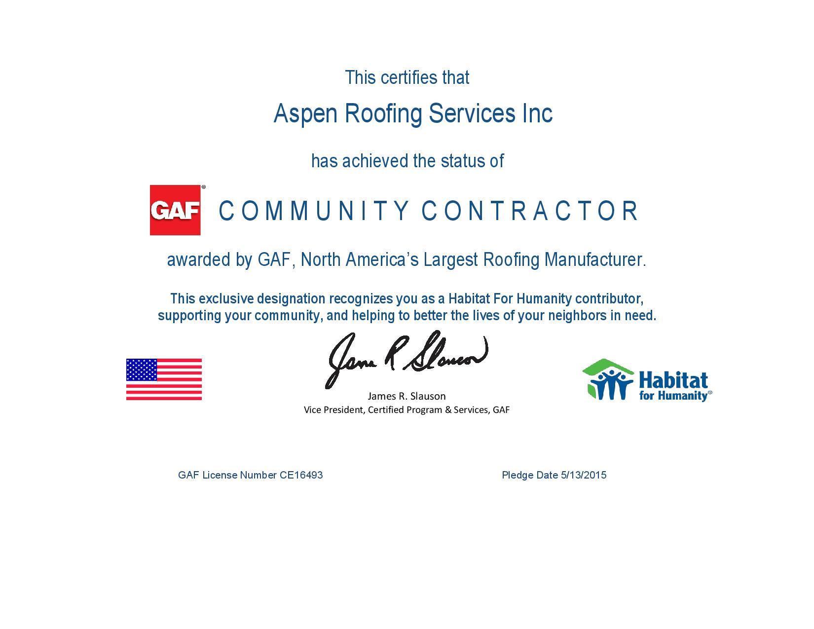 Aspen Roofing Services Inc