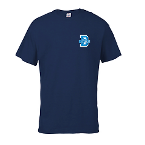 Navy Blue T-Shirt With LIGHT BLUE We Are Danvers Logo