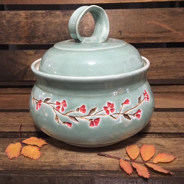 Red Blossom Sugar Bowl