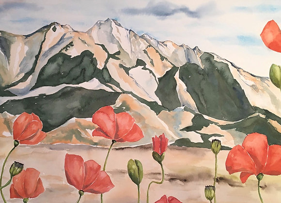 Mountains and Poppies Sticker