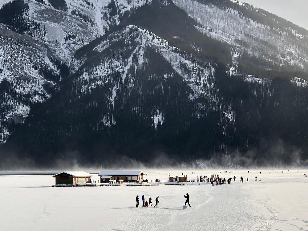 ice skating at the lake minnewanka