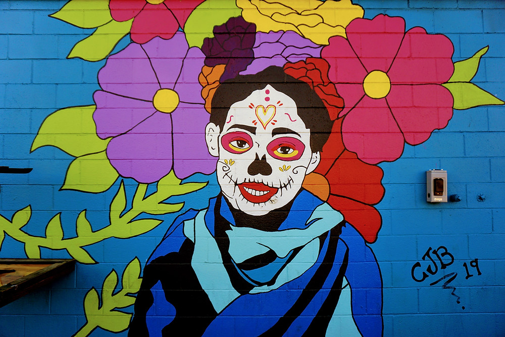 Sugar Skull Girl mural on Fourth Plain