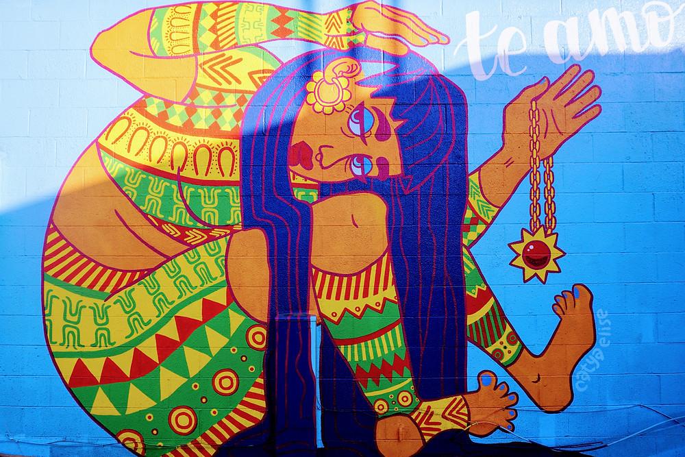 Aztec mural on Fourth Plain