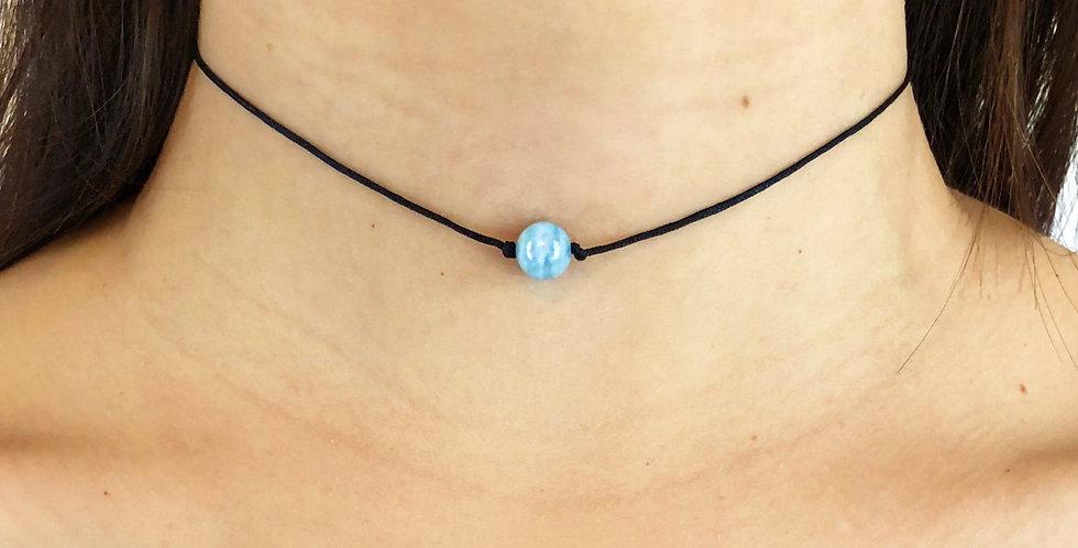 Aquamarine Choker - One Bead