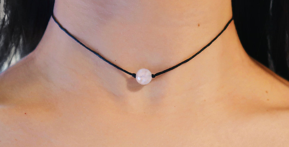 Faceted Rose Quartz Choker - One Bead