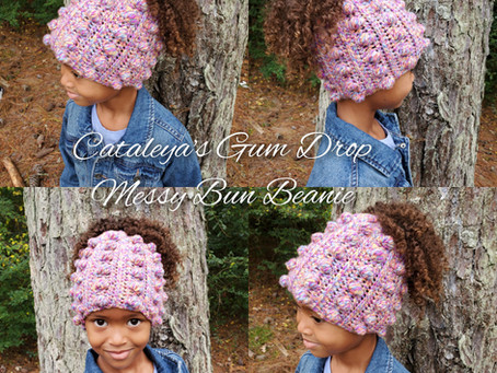 "How to Crochet ""Cataleya's Gum Drop"" Messy Bun Beanie"