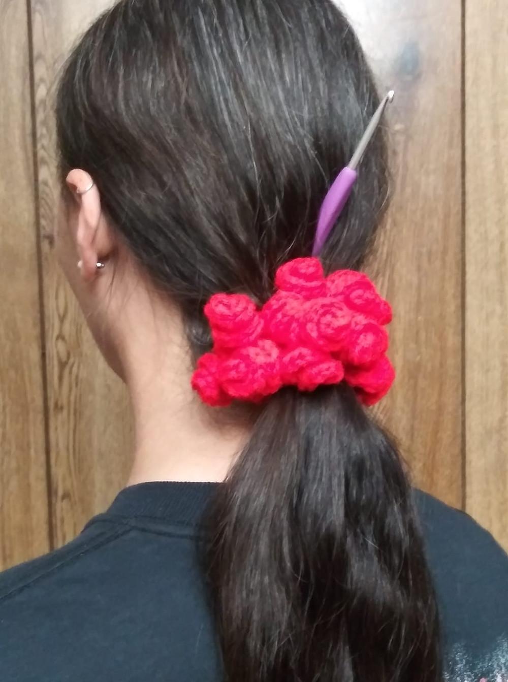crochet rose scrunchie